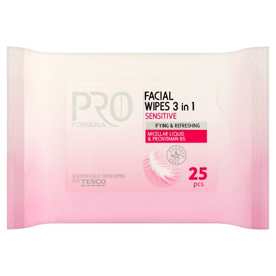 Tesco Pro Formula Facial Wipes 3 in 1 Sensitive 25 Pieces