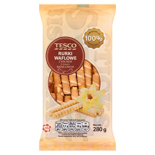 Tesco Wafer Tubes with Vanilla Flavour Filling 280 g