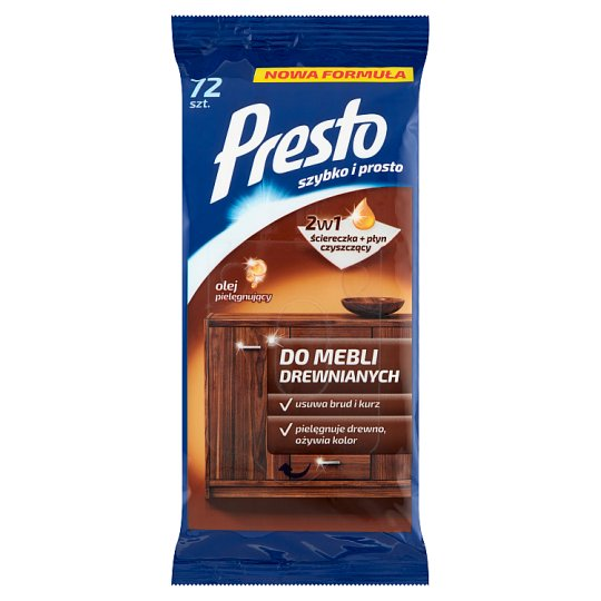 Presto Cleaning Wipes for Wooden Furniture 72 Pieces