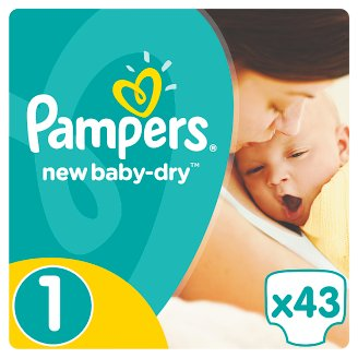 Pampers New Baby-Dry S1, 43 Nappies, Up To 12H Of Dryness