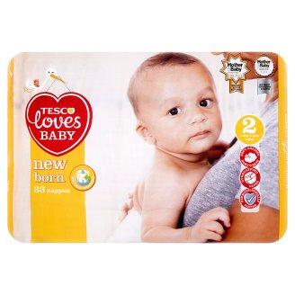 Tesco Loves Baby New Born Pieluszki jednorazowe 2 mini 3-6 kg 33 sztuki