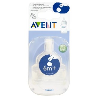 Avent Thick Feed Teat after 6 Months 2 Pieces