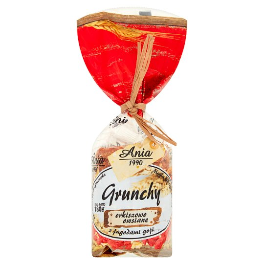 Ania Grunchy ciasteczka orkiszowo-owsiane z jagodami goji 180 g