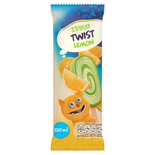 Tesco Twist Lemon Creamy Flavour Ice Cream and Lemon Water Ice 100 ml