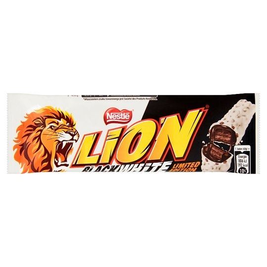 Lion Black White Wafer Bar Filled with Caramel and Wheat Flakes in White Coating 40 g