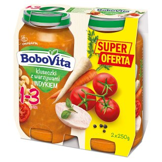 BoboVita Junior Noodles with Vegetables and Turkey Age 1-3 2 x 250 g