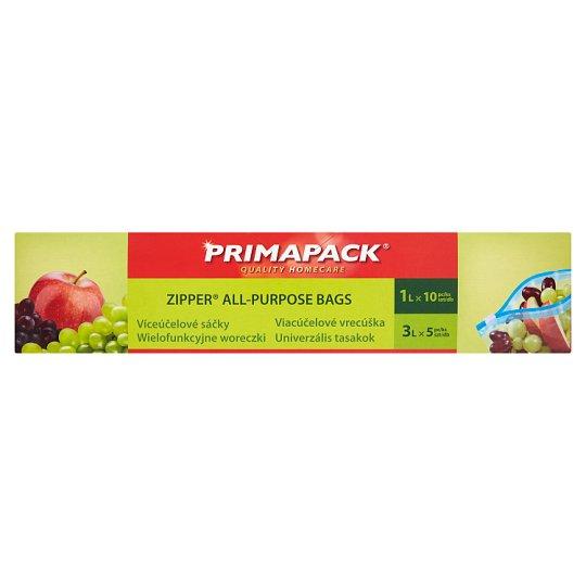 Primapack Pieces Zipper All-Purpose Bags 1 L 10 Pieces and 3 L 5 Pieces