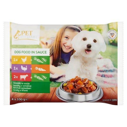 Tesco Pet Specialist Karma dla dorosłych psów kawałki w sosie 4 x 100 g