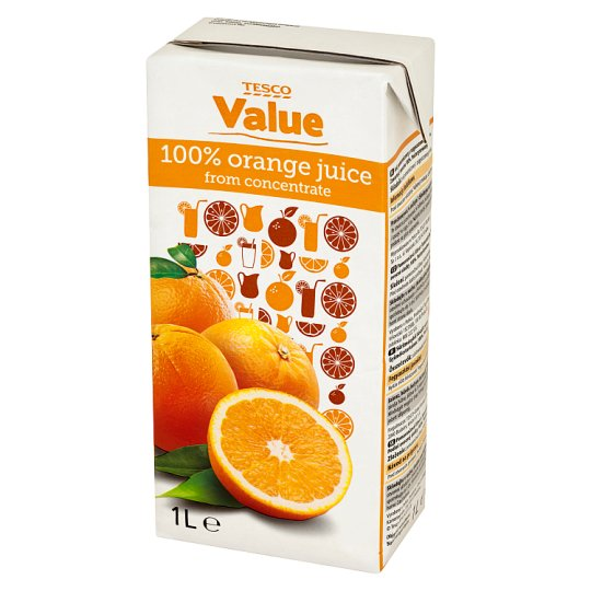 Tesco Value 100% Orange Juice from Concentrate 1 L