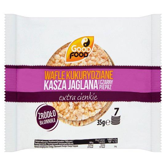 Good Food Wafle kukurydziane extra cienkie kasza jaglana i czarny pieprz 35 g (7 sztuk)