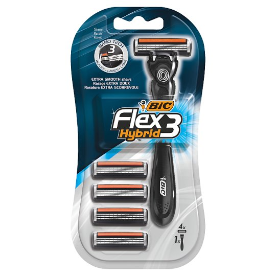 BiC Flex 3 Hybrid Disposable Razor with Cartridges 4 Pieces