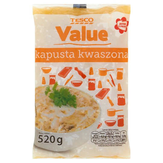 Tesco Value Kapusta kwaszona 520 g