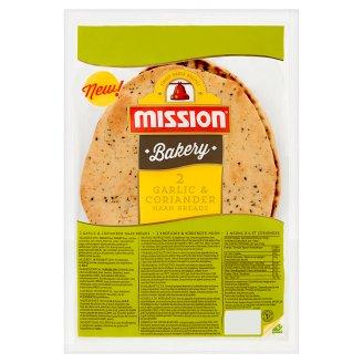 Mission Bakery Mini chlebek Naan z czosnkiem i kolendrą 240 g (2 sztuki)