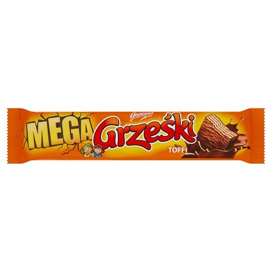 Grześki Mega Toffee Wafer Bar with Toffee Flavoured Cream Milk Chocolate-Coated 48 g