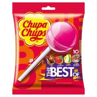 Chupa Chups The Best of Cola Milky Fruit Lizaki wielosmakowe 120 g (10 sztuk)