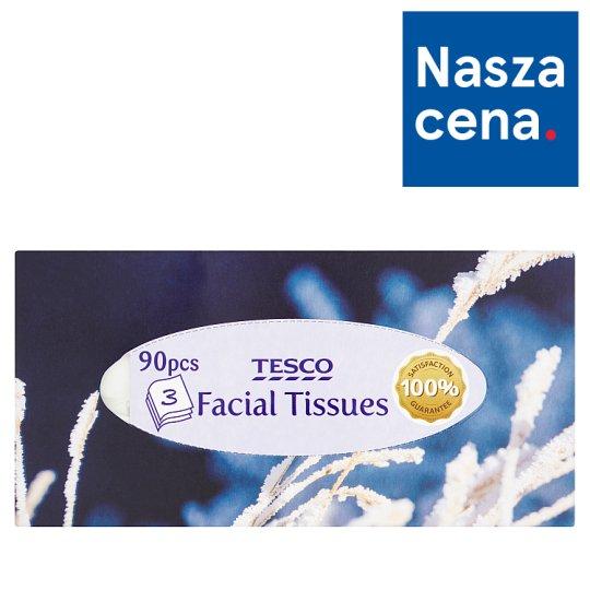 Tesco Facial Tissues 3 Ply 90 Pieces