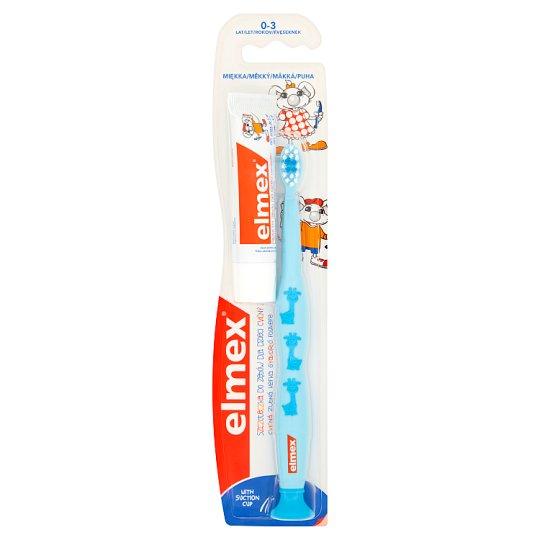 Elmex Szczoteczka do zębów dla dzieci 0-3 lat miękka i Pasta do zębów dla dzieci 0-6 lat 12 ml