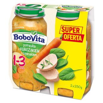 BoboVita Junior Potrawka z kurczakiem i szpinakiem 1-3 lata 2 x 250 g