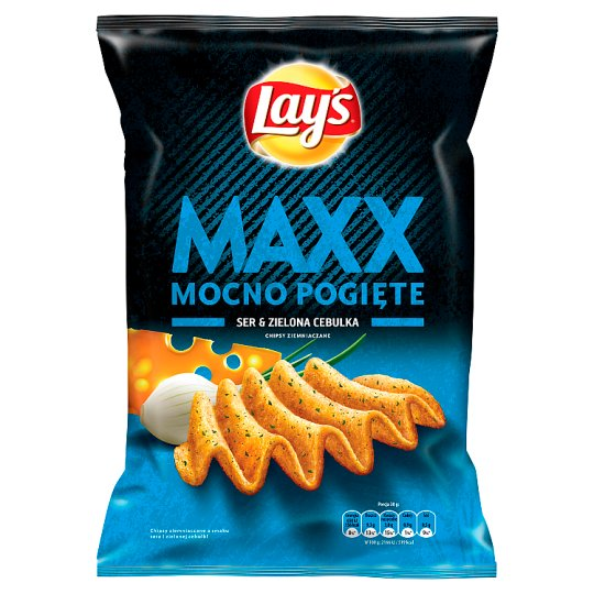 Lay's Maxx Mocno Pogięte Cheese & Green Onion Flavoured Potato Crisps 140 g