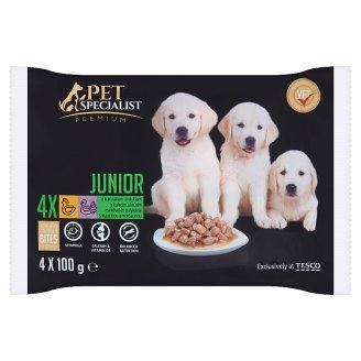 Tesco Pet Specialist Premium Karma dla młodych psów z kurczakiem i indykiem w sosie 4 x 100 g