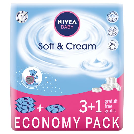 NIVEA Baby Soft & Cream Wipes with Caring Cream and Panthenol 4 x 63 Pieces