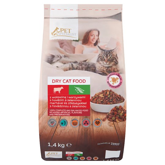 Tesco Pet Specialist Rings with Beef and Vegetables Dry Food for Adult Cats 1.4 kg