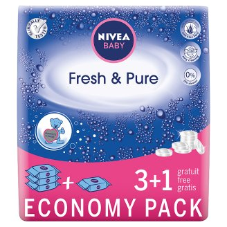 NIVEA Baby Fresh & Pure Wipes 252 Pieces (4 x 63 Pieces)