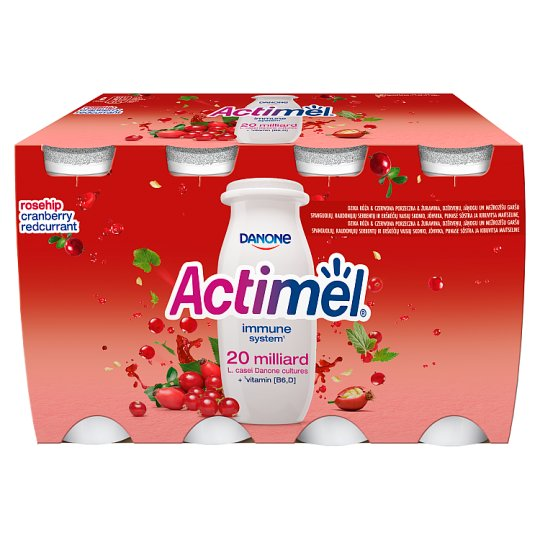 Danone Actimel Rosehip & Cranberry & Red Currant Flavoured Fermented Milk 400 g (4 x 100 g)