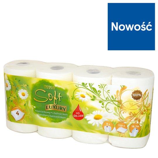 Tesco Soft Luxury Papier toaletowy rumiankowy 4 warstwowy 8 rolek