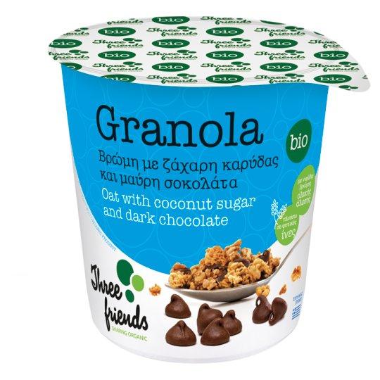Znalezione obrazy dla zapytania Three Friends Granola owsiana z kawałkami gorzkiej czekolady bio