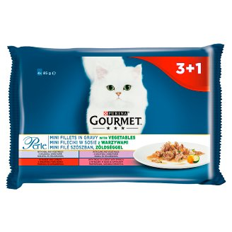 Gourmet Perle Mini Fillets in Gravy with Vegetables Complete Pet Food for Cats 340 g (4 x 85 g)