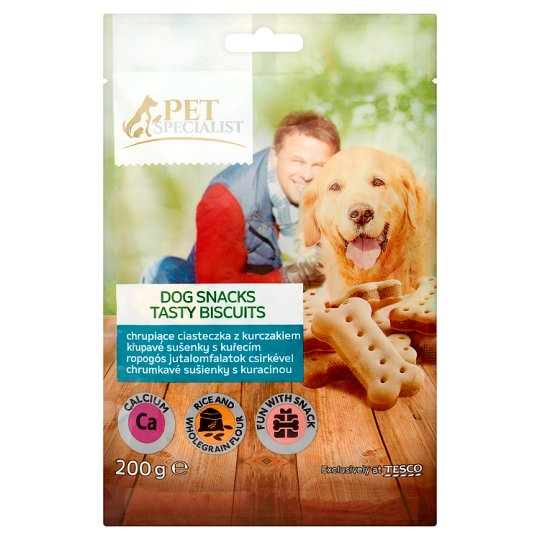 Tesco Pet Specialist Karma uzupełniająca dla dorosłych psów ciasteczka z kurczakiem 200 g