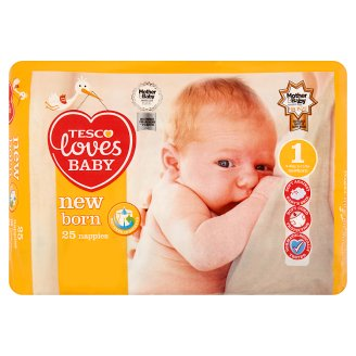 Tesco Loves Baby New Born 1 Newborn 2-5 kg Nappies 25 Pieces