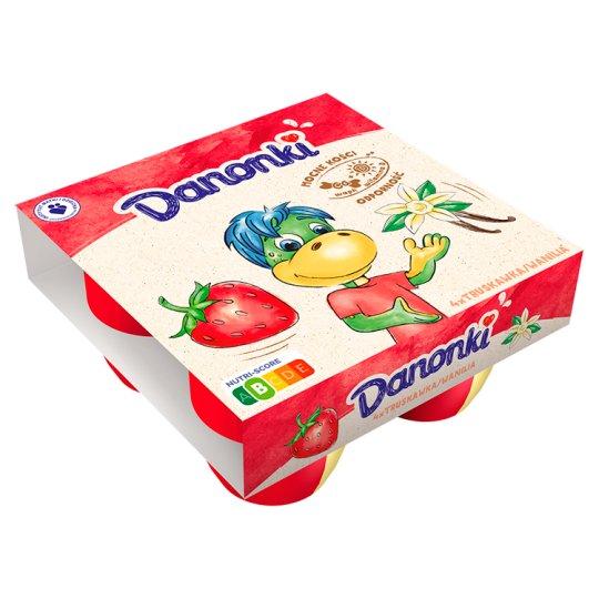 Danone Danonki Mega Strawberry Vanilla Cottage Cheese 360 g (4 Pieces)