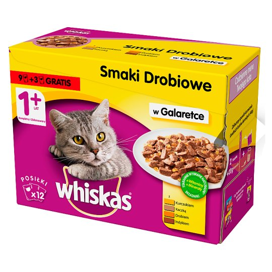 Whiskas 1+ Years Chicken Flavors in Jelly Complete Cat Food 1.2 kg (12 x 100 g)