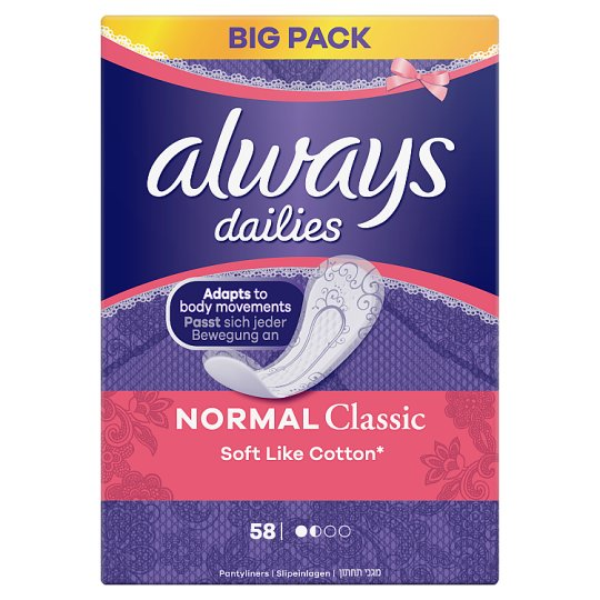 Always Dailies Soft Like Cotton Panty Liners Normal x 58