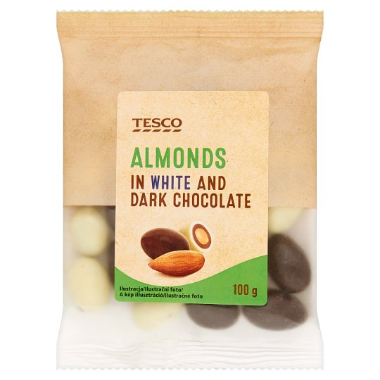 Tesco Almonds in White and Dark Chocolate 100 g