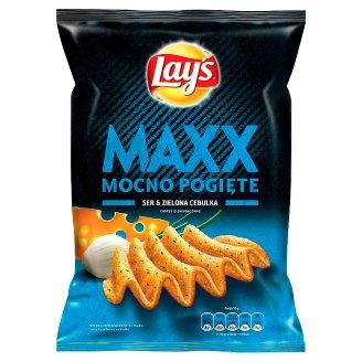 Lay's Maxx Mocno Pogięte Ser & Zielona cebulka Chipsy ziemniaczane 210 g