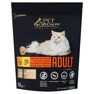 Tesco Pet Specialist Premium Granules with Fresh Chicken and Corn Food for Adult Cats 750 g