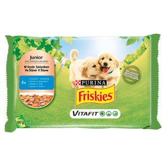 Friskies Vitafit Junior Dog Food with Chicken and Carrot in Sauce 4 x 100 g