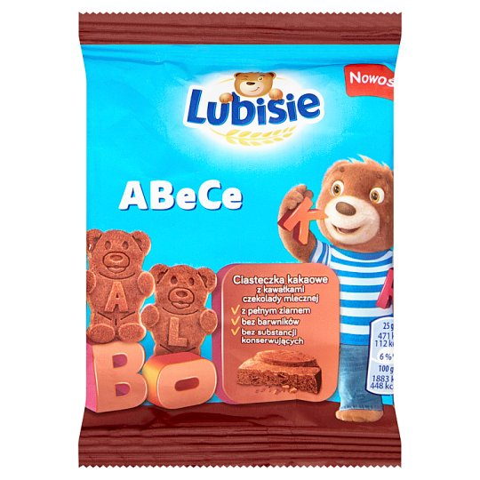 Lubisie ABeCe Ciasteczka kakaowe z kawałkami czekolady mlecznej 25 g