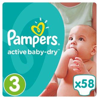 Pampers Active Baby-Dry Size 3 (Midi) 5-9 kg, 58 Nappies