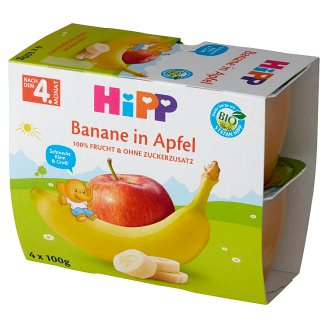 HiPP BIO Owocowa Chwila Apples-Bananas after 4. Months Onwards 400 g (4 Pieces)