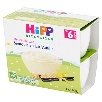HiPP BIO Milk Porridge Vanilla after 6. Months Onwards and for Babies 400 g (4 x 100 g)