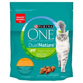 PURINA ONE Dual Nature Spirulina Pełnoporcjowa karma dla dorosłych kotów bogata w kurczaka 750 g