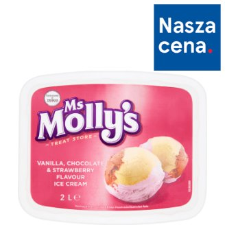 Ms Molly's Vanilla Chocolate & Strawberry Flavour Ice Cream 2 L