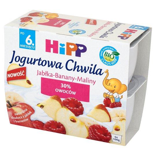 HiPP BIO Jogurtowa Chwila Jabłka-Banany-Maliny po 6. miesiącu 400 g (4 sztuki)