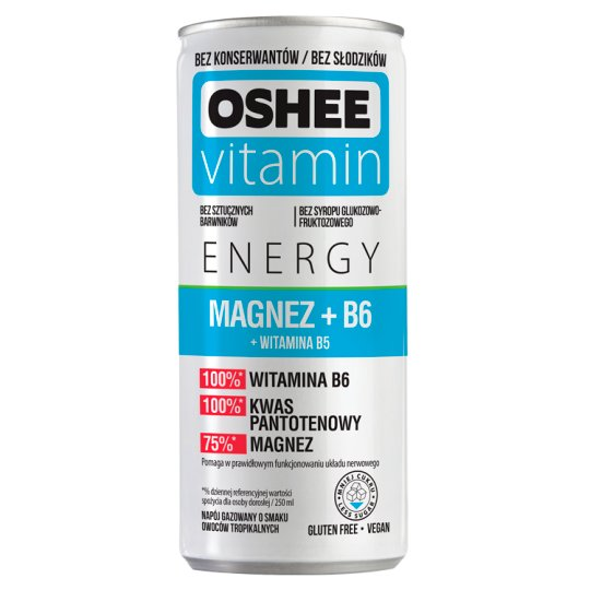 Oshee Vitamin Energy Magnesium + B6 Tropical Fruit Flavour Carbonated Drink 250 ml