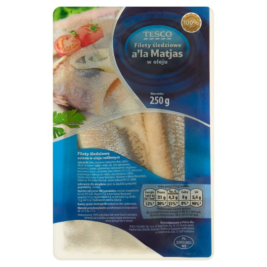 Tesco Herring Fillets a'la Matjas in Oil 250 g