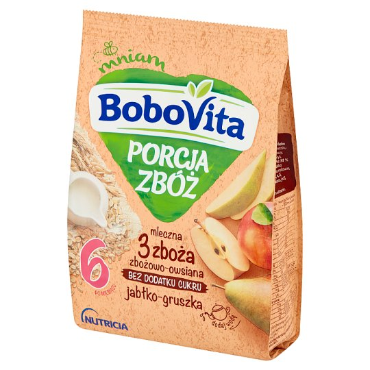 BoboVita Porcja Zbóż 4 Grains Milk Porridge Apple Pear Flavour after 6 Months Onwards 210 g